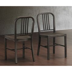These durable 100-percent steel chairs provide years of style and service. The classic-look steel chairs feature a vintage finish with a comfortable contoured seat and arrive fully assembled, two per carton.