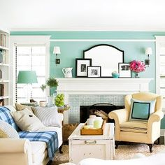 Modern Furniture: Colorful Living Rooms Decorating Ideas 2012.   Really love the fireplace. Maybe good improvement to put over our current brick fireplace.