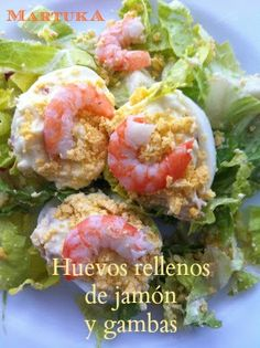 Las recetas de Martuka: Huevos Rellenos De Jamón Y Gambas Ketogenic Recipes, Diet Recipes, Vegan Recipes, Puerto Rico Food, Seafood Salad, Christmas Dishes, Recipe For 4, Lunches And Dinners, Kitchen Recipes