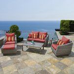 Outdoor furniture that inspires as well as relaxes. Whether you want to unwind after a long day or just soak up the sun, do it in style with this 6 piece outdoor seating set that's comfortable, durable and virtually maintenance free. A unique contemporary gray, hand woven wicker made of 100% recyclable material makes it good for your patio as well as the environment.