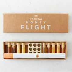 Bee Raw Varietal Honey Flight is the perfect gift for chefs and food lovers, this collection of nine honeys offers a sweet tasting of varietals from around the US.