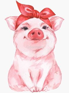 'Piggy in red' Sticker by Gribanessa Cute Canvas Paintings, Animal Paintings, Canvas Art, Cow Painting, Painting & Drawing, Pig Drawing, Watercolor Illustration, Watercolor Art, Pig Illustration