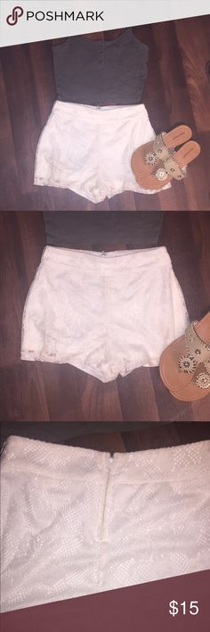 CLOSET CLOSING FRIDAY Cream Lace Shorts These shorts are PERFECT. they look cute with anything, kinda high waisted, zipper, snap closure, perfect condition. lace that are fully lined, not see through. My closet is closing soon so please make offers!!! Charlotte Russe Shorts