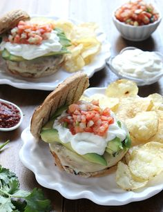 Southwestern White Bean Burgers w/ Avocado, Pepperjack, and Pico de Gallo!! a great meatless recipe for the whole family x