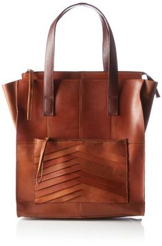 PIECES PCTECLA LEATHER SHOPPING BAG 17071201 Damen Shopper 37x35x12 cm (B x H x T), Braun (Cognac)