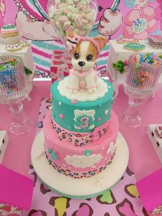 Just how adorable is the birthday cake at this puppy dog themed birthday party Love the fondant puppy topper See more party ideas and share yours at Puppy Birthday Cakes, Puppy Birthday Parties, Novelty Birthday Cakes, Themed Birthday Cakes, Puppy Party, Birthday Cake Girls, Birthday Party Themes, 5th Birthday, Doggy Birthday