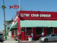The Crab Cooker of Tustin and Newport Beach: Seafood Restaurant - Serving Orange County Since 1951. Family Fun mag rec for family trip to Newport Beach/Balboa. Just down from Balboa Pier. Clam Chowder. They take their seafood seriously--the seafood boats unload next door. Entrees=Cracked Crab or Shrimp on a Skewer, served on paper plates. Prices start around $8.