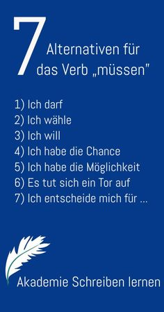 """So verwandelst du die Wirkung des """"müssen"""" und bringst damit eine ander… So you transform the effect of """"have to"""" and bring with it another in your The Words, Vocabulary Exercises, German Language Learning, Learn German, Math Activities, Affirmations, Coaching, Self, Told You So"""