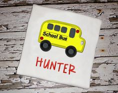 School Bus Shirt with Personalization by KnuckleheadNeedlewrk, $25.00