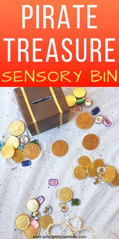 Dig for gold with this fun pirate treasure sensory bin. An easy toddler and preschooler activity that will develop fine motor skills, language and more.    #sensory #finemotor #toddler #preschool #pirate Educational Activities For Toddlers, Pirate Activities, Activities For 2 Year Olds, Games For Toddlers, Craft Activities For Kids, Toddler Games, Sensory Bottles, Sensory Bins, Sensory Play