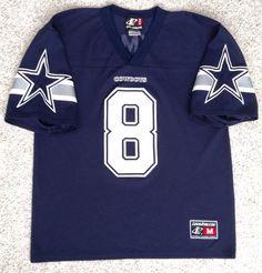 2433fcf05 vtg TROY AIKMAN DALLAS COWBOYS  8 JERSEY Navy-Blue Logo-Athletic NFL  (See-Size!)  LogoAthletic  DallasCowboys