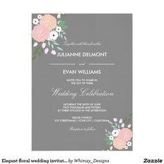 Elegant floral wedding invitation - gray