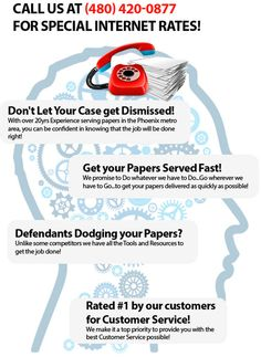 http://www.superiorprocessservices.com/ See our Recession Special: Call for Special Rates! We are a certified Process Server serving Phoenix and the surrounding areas of Scottsdale, Mesa, Tempe, Gilbert & all of Maricopa County. We provide attorney support services, records research, on-site document scanning, investigating.