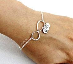 Personalized Infinity Bracelet and Initial, Family Monogram Charm Bracelet, Mothers Bracelet, BFF, Silver Sister Jewelry by hotmixcold on Etsy https://www.etsy.com/listing/168516147/personalized-infinity-bracelet-and