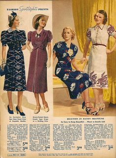 Sears & Roebuck spring and summer 1938 womens dresses vintage 1930s Fashion, Retro Fashion, Vintage Fashion, Victorian Fashion, Fashion Spring, French Fashion, Ladies Fashion, Fashion Fashion, Womens Fashion