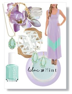 """""""Lilac and mint"""" by katiemax34 on Polyvore featuring Essie, Bare Escentuals, Kate Spade, Charlotte Russe, Monsoon, GUESS, colorchallenge and lilacandmint"""