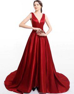 Rochie de seara lunga rosie cu buzunare laterale Orice, Red Satin, Corset, Wordpress, Gowns, Formal Dresses, Fashion, Tulle, Vestidos