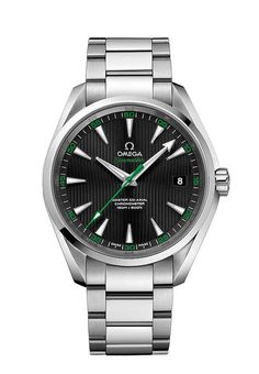 The @omegawatches Seamaster Aqua Terra 150 M Master Co-Axial is a 41.5-mm steel watch with a black dial, a date window at 3 o'clock, and a fairway-evocative green tint on the central seconds hand and minutes numerals; it it is outftted with Omega's in-house Master Co-Axial Caliber 8500. Read more at: http://www.watchtime.com/wristwatch-industry-news/lifestyle/a-formidable-foursome-4-watches-worn-and-endorsed-by-pro-golfers/ #omega #watchtime #watchgeek