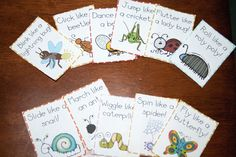 I Love Bugs by Emma Dodd or Beetle Bop by Denise Fleming - Bug action cards or bug craft