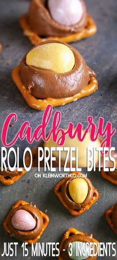 Cadbury Rolo Pretzel Bites are a simple & easy holiday treat with just Perfect for neighbor gifts parties & serious chocolate & caramel lovers. Fudge Recipes, Best Dessert Recipes, Candy Recipes, Delicious Desserts, Snack Recipes, Cooking Recipes, Easter Recipes, Snacks, Hot Fudge Cake