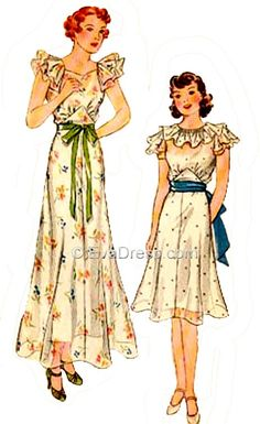 1936 Juniors' or Girl's Graduation or Party Dress E30-1966
