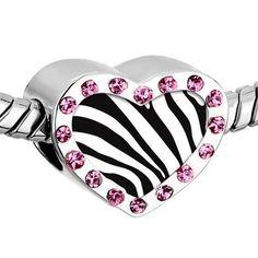 Pugster Pink Swarovski Crystal Zebra Skin Photo Heart Silver Plated Beads Fits Pandora Charm Chamilia Biagi Bracelet Pugster. $16.49. Color: Pink. Size (mm): 12.95*7.4*10.31. Weight (gram): 2.8. Metal: Crystal