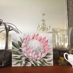 King Protea, oil on canvas, by Marietjie Jones, for Fynbos Co. Acrylic Painting Flowers, Acrylic Painting Canvas, Fabric Painting, Watercolor Flowers, Oil On Canvas, Protea Art, Protea Flower, Blue Flower Wallpaper, Flower Art