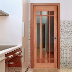 Lyon Mahogany Timber Door with Bevelled Clear Safety Glass. #internalglazedmahoganydoor #internalglazeddoor #mahoganydoor