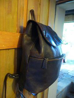 Vintage Leather Backpack - Brown Distressed Leather  Back pack