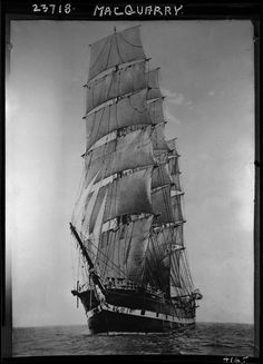 Sailing ship MacQuarie, (Photo via Old Sailing Ships, Full Sail, Wooden Ship, Tall Ships, Sailboats, Old Pictures, Art Images, Vancouver, Beautiful Pictures