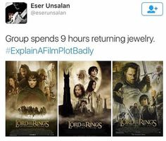 Lord of the rings-explain a film plot badly