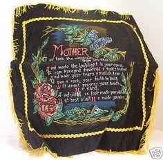 """Velvety Mom Pillow Cover Poem for Mother painted Roses & Birds Fringed 14½ """" Vtg $6.98"""