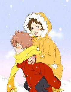 "Animator Hosoda Mamoru, Makoto and Chiaki from ""The Girl Who Leapt Through Time"""
