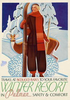 By William P. Welsh (1889-1984),  ca. 1935, Winter Resort, Pullman Trains, USA.