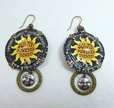Funky microbrewery....I was nuts for the graphics.  May redo the earrings, LOL  YAY SUNDAY EARRINGS CHALLENGE!