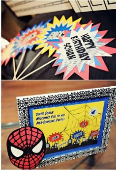 Spider Comic Book Hero Inspired Birthday! Love allt he creative ideas of this party!