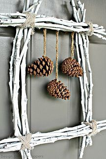 Pine Cone Twig Wreath Create a unique winter wreath using twigs and pine cones. Twig Crafts, Pine Cone Crafts, Nature Crafts, Arts And Crafts, Kids Fall Crafts, Holiday Crafts, Christmas Crafts, Christmas Decorations, Red Christmas