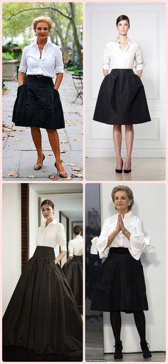 Anti-Age Fashion: The Elegance of Carolina Herrera - Alles über Damenmode Blusas Carolina Herrera, Carolina Herrera Dresses, Carolina Herrera Perfume, 60 Fashion, Miami Fashion, Fashion Outfits, Mom Dress, Dress Up, Miami Moda