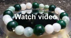 Jadeite green & white beads & Chinese Maw Sit Sit beads stretchy bracelet 20grms #Siamgems1969com