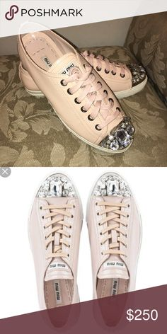Beautiful Miu Miu jeweled cap toe leather sneakers Pre-loved Miu Miu leather sneakers. Authentic. No box or dust bag. Size 9 (small form). Almost new. OPEN TO ALL REASONABLE OFFERS.😊 Miu Miu Shoes Sneakers