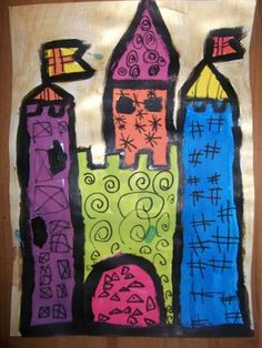 art visuel château Castles Topic, Chateau Moyen Age, Fairy Tale Crafts, Art Lessons Elementary, Medieval Art, Art Plastique, Pre School, Art Music, Art Techniques