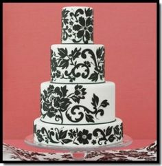 Damask wedding cake by darla Pretty Wedding Cakes, Amazing Wedding Cakes, Pretty Cakes, Beautiful Cakes, Black White Cakes, Black And White Wedding Cake, White Wedding Cakes, White Weddings, Damask Cake