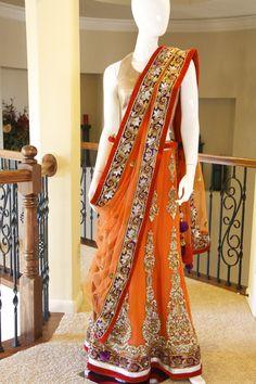 Orange Purple Velvet Lehenga | Red Paisleys. South Asian bridal clothing.
