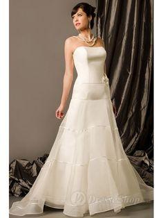 Ball Gown Strapless Flower Organza Chapel Train Wedding Dress