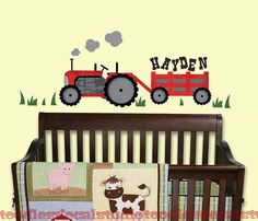Red Tractor Wall Decal - Farm Name Decal - Reusable Fabric Wall Decals For boys room - Nursery tractor decals for kids