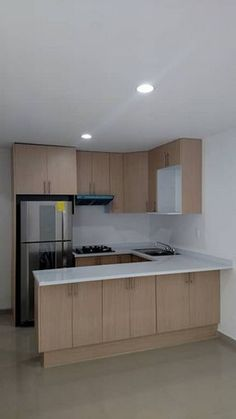 Awesome Tiny House Small Kitchen Ideas : 52 Awesome Tiny House Small Kitchen Ideas - Page 11 of 52 Small Kitchen Layouts, Kitchen Design Open, Small Space Kitchen, Interior Design Kitchen, Small Kitchen Plans, Modern Kitchen Cabinets, Kitchen Unit, Minimalist Kitchen, Küchen Design
