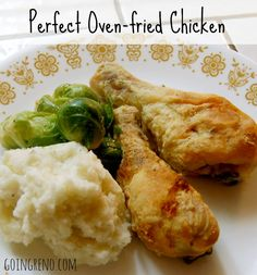 This perfect oven-fried chicken is the LAST chicken recipe you'll ever need. So juicy. So cripsy. So perfect. Go full-on blue plate special with mashed potatoes, gravy, and a veg. Repin this for later!