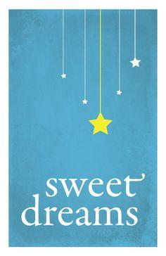 Sweet Dreams child nursery art print, stars, night sky, distressed blue: 5 x 7. $9.00, via Etsy.