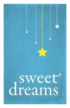 Sweet Dreams child nursery art print, stars, night sky, distressed blue: 5 x 7. $9.00, via Etsy.