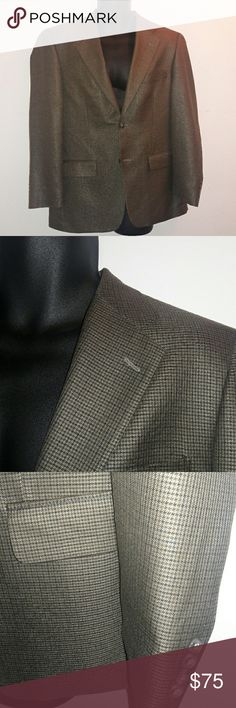 TASSO ELBA Check Blazer This awesome Tasso Elba checkered blazer is beautiful silk wool blend. Size 38 R. It has a few small pen size holes on one arm. Not really noticeable but this jacket does come with a fabric swatch and extra buttons. Tasso Elba Suits & Blazers Sport Coats & Blazers